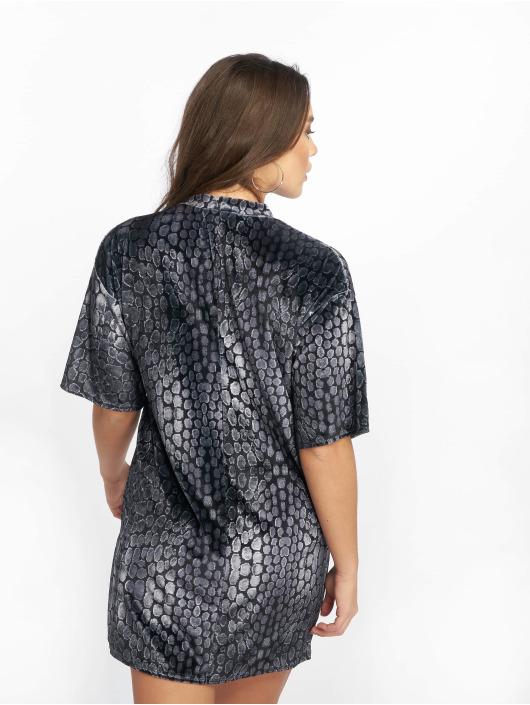 Missguided Kleid Oversized High Neck Velvet schwarz
