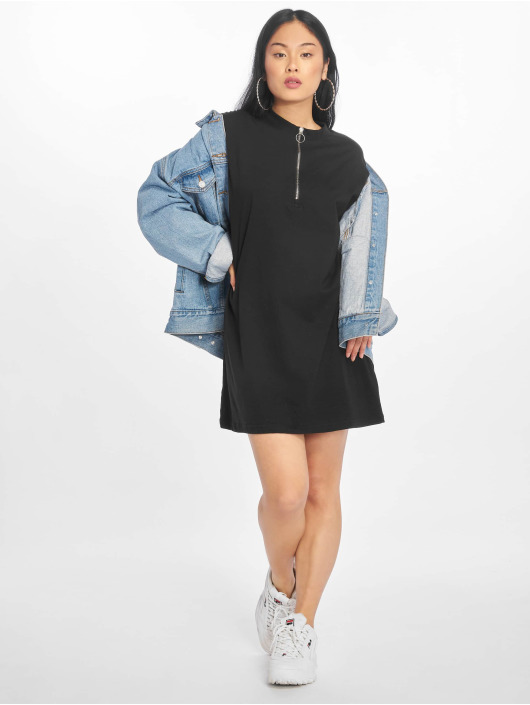 Missguided Kleid Oversized Zip Front Ls schwarz