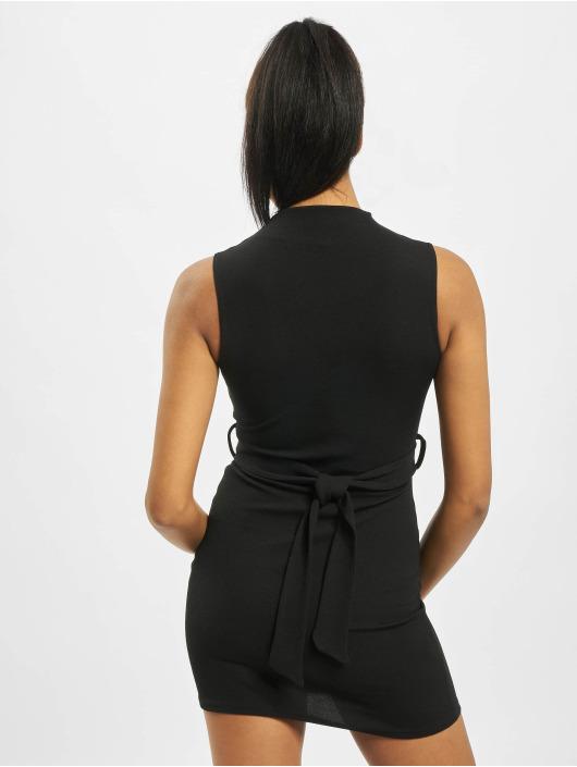 Missguided Kleid High Neck Tie Waist schwarz