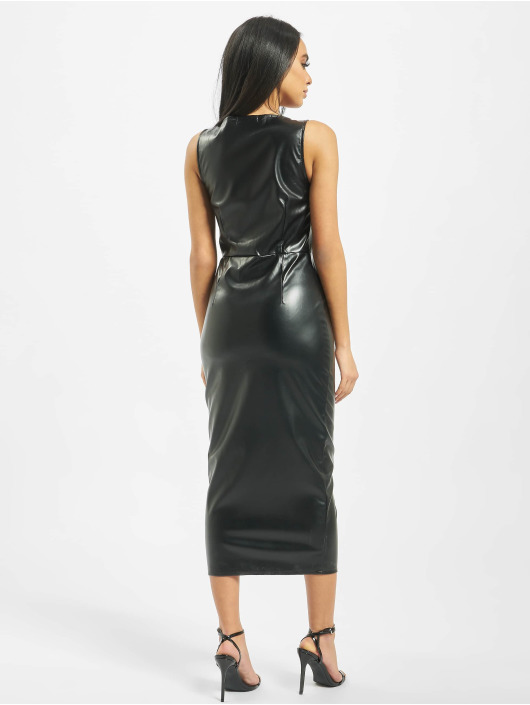 Missguided Kleid PU Hook And Eye Bodycon schwarz