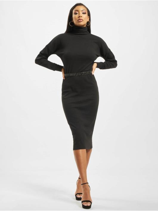 Missguided Kleid Oversized Ribbed Roll Neck Longsleeve schwarz