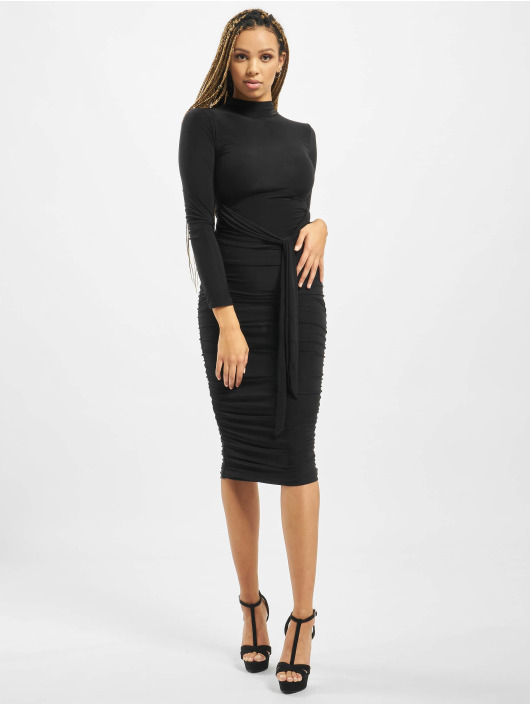 Missguided Kleid High Neck Longsleeve Ruched schwarz
