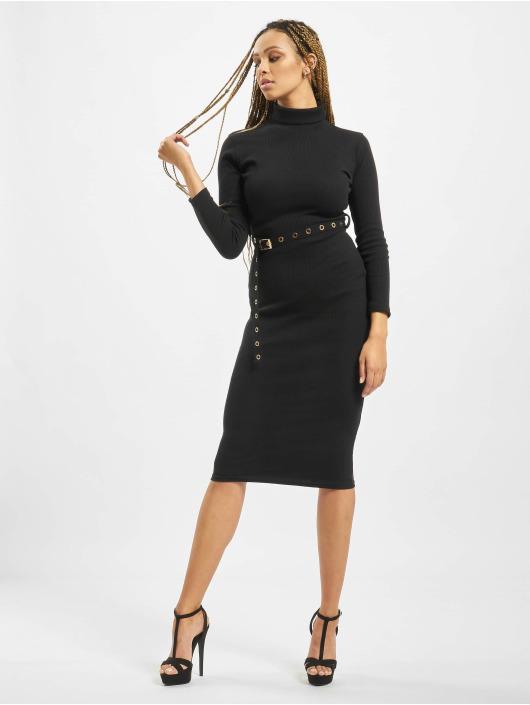 Missguided Kleid Petite Roll Neck Belted schwarz
