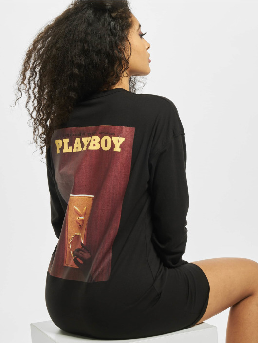 Missguided Kleid Playboy Door Magazine Longsleeve T-Shirt schwarz
