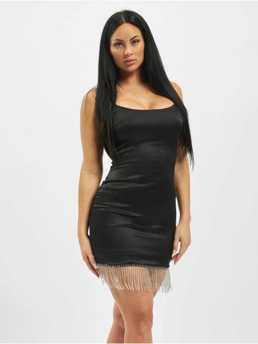 Missguided Kleid Diamante Trim Stretch Satin Mini schwarz