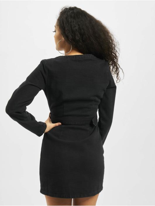 Missguided Kleid Long Sleeve Belted Plunge Denim schwarz