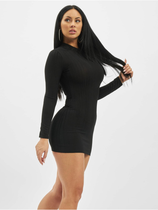 Missguided Kleid Petite High Neck Longsleeve Ribbed schwarz