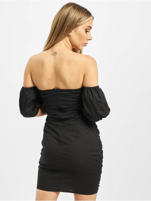 Missguided Kleid Cotton Poplin Ruched schwarz