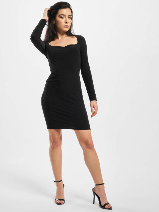 Missguided Kleid Slinky Wide Neck schwarz