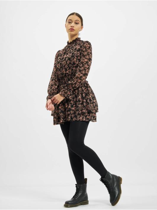 Missguided Kleid High Neck Shirred Waist Floral schwarz