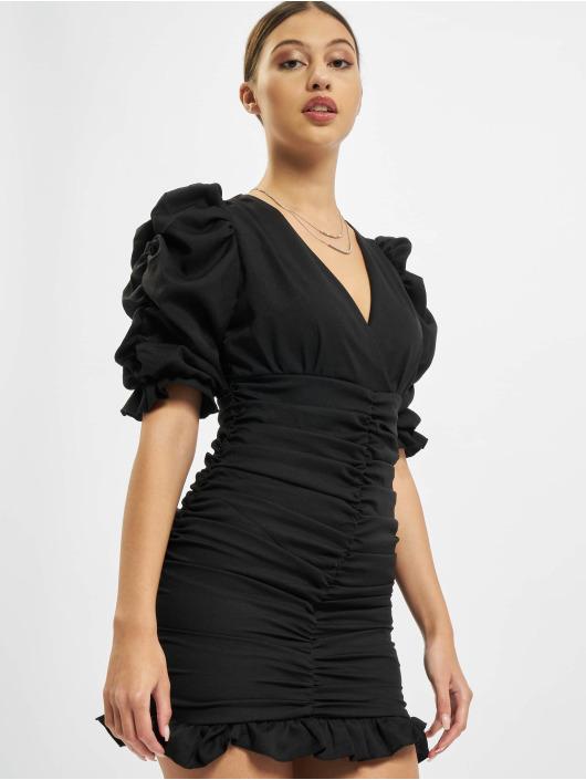 Missguided Kleid Short Sleeve Shirred Ruched Mini schwarz