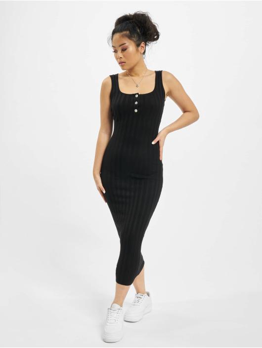Missguided Kleid Knitted Rib schwarz