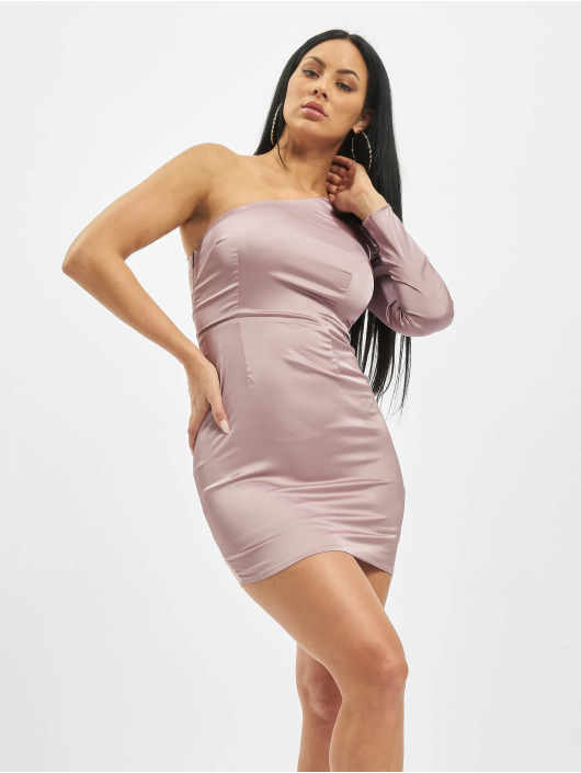 Missguided Kleid One Sleeve Stretch Satin Mini violet