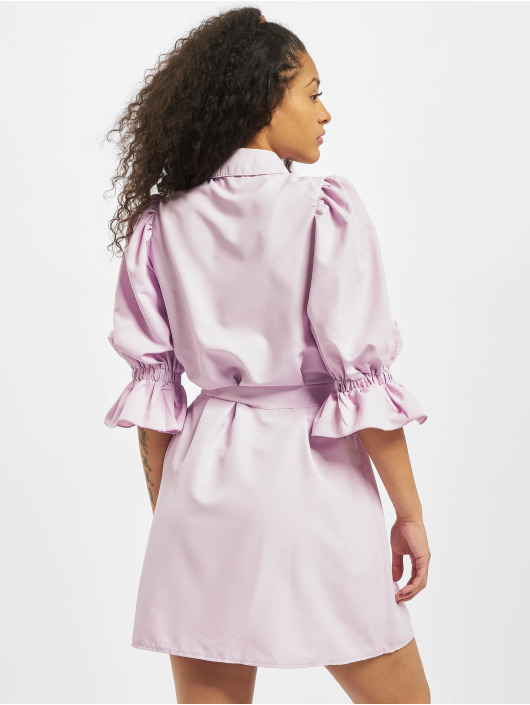 Missguided Kleid Puff Sleeve Belted Mini Shirt violet