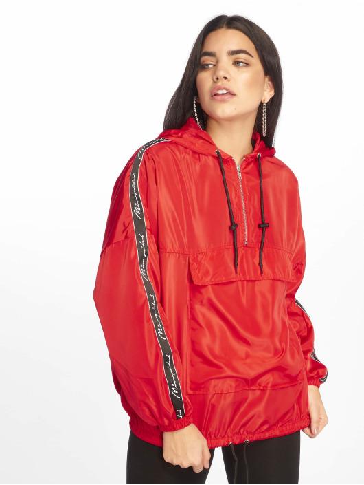 Missguided Kurtki przejściowe Hooded Half Zip czerwony
