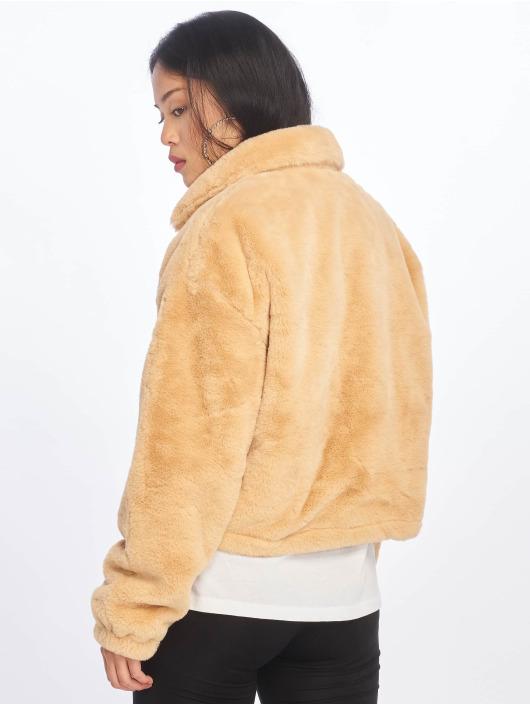 Missguided Kurtki zimowe Faux Fur bezowy