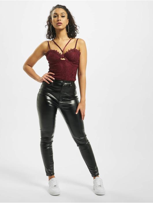 Missguided Látkové kalhoty Faux Leather čern