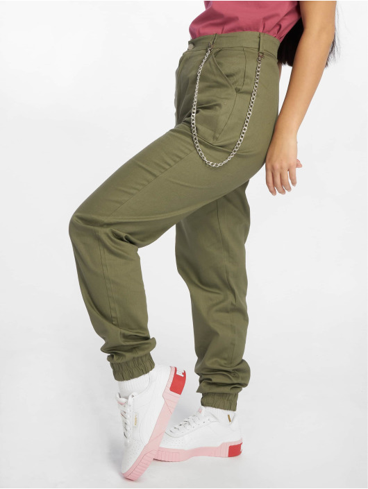 Missguided Látkové kalhoty Chain hnědožlutý