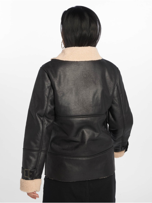 Missguided Leather Jacket Contrast Borg Aviator black