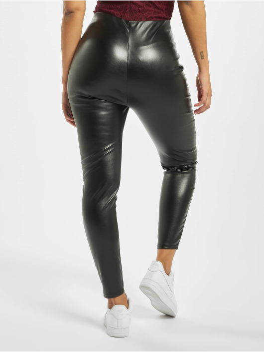 Missguided Legging Faux Leather Split Front noir