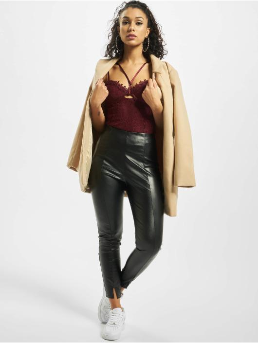 Missguided Leggings Faux Leather Split Front nero