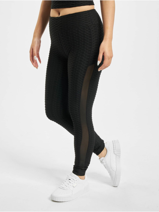 Missguided Leggings Textured Cut & Sew svart