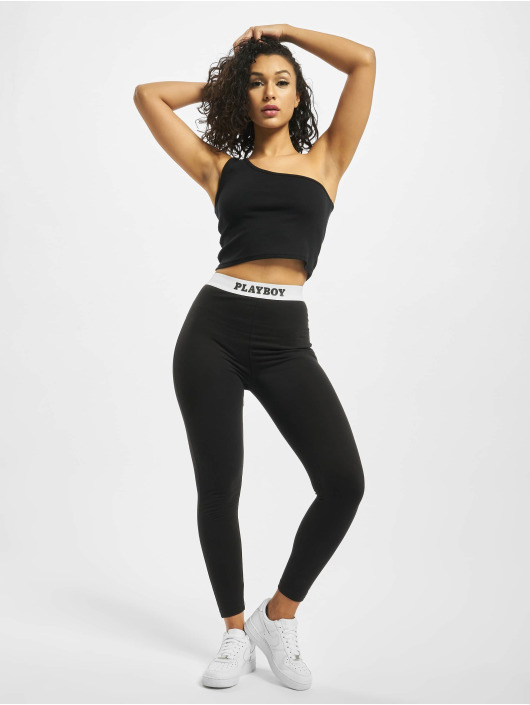 Missguided Leggings/Treggings Playboy Slogan Waistband czarny