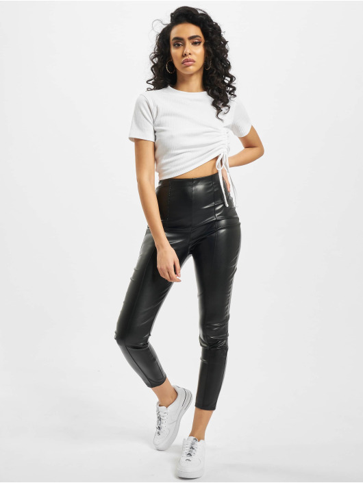 Missguided Leggings/Treggings Missguided Faux Leather Pin Tuck Leggings czarny