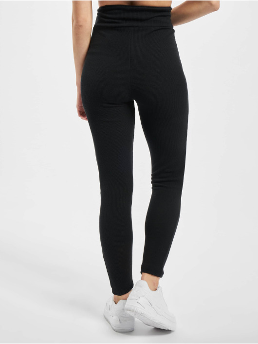 Missguided Leggings/Treggings Petite Sculpted Rib czarny