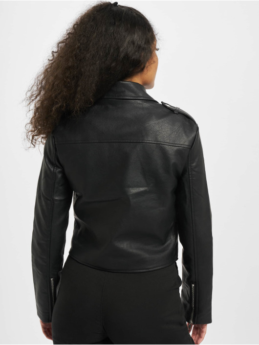 Missguided leren jas Ultimate Boxy Faux Leather Biker zwart
