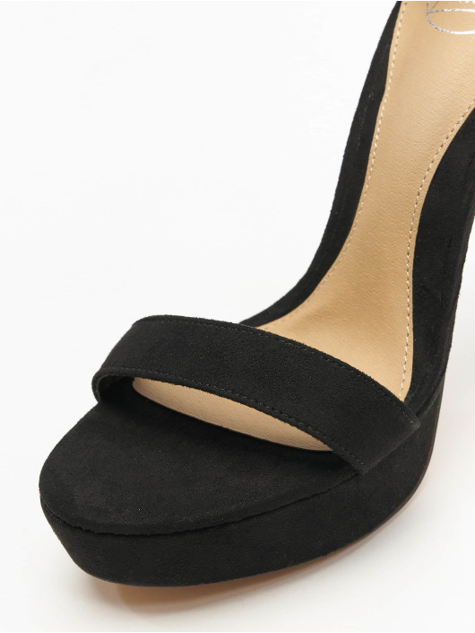 Missguided Lodičky Simple Strap Platform Faux Suede èierna