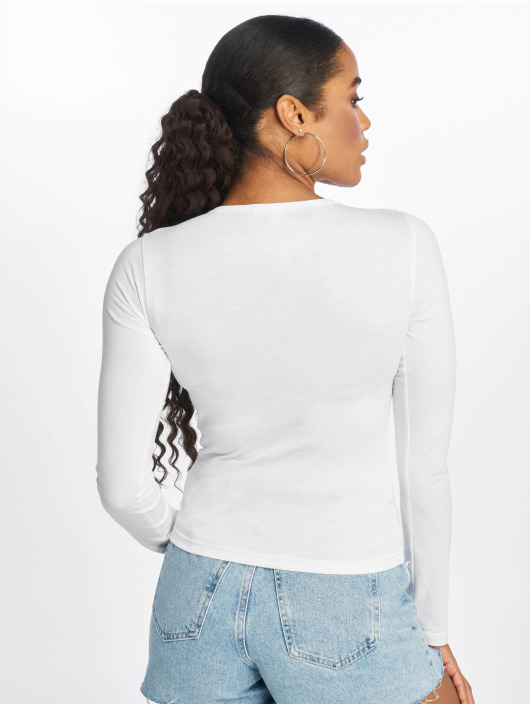 Missguided Longsleeve Button Front Plunge white