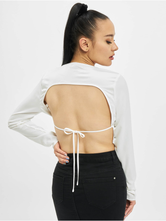Missguided Longsleeves Open Back Crop bialy