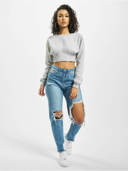 Missguided Maglia Corset Detail Cropped grigio
