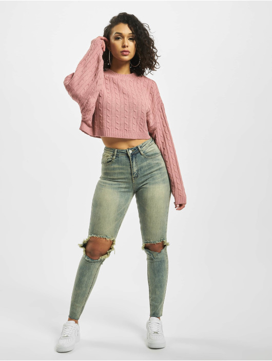 Missguided Maglia Cable Batwing Cropped Co Ord rosa chiaro