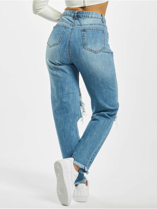 Missguided Mamma Jeans Riot High Rise Open Knee High Waist blå