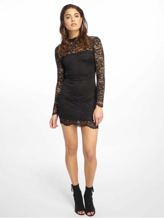Missguided Mekot High Neck Long Sleeve Lace Midi musta