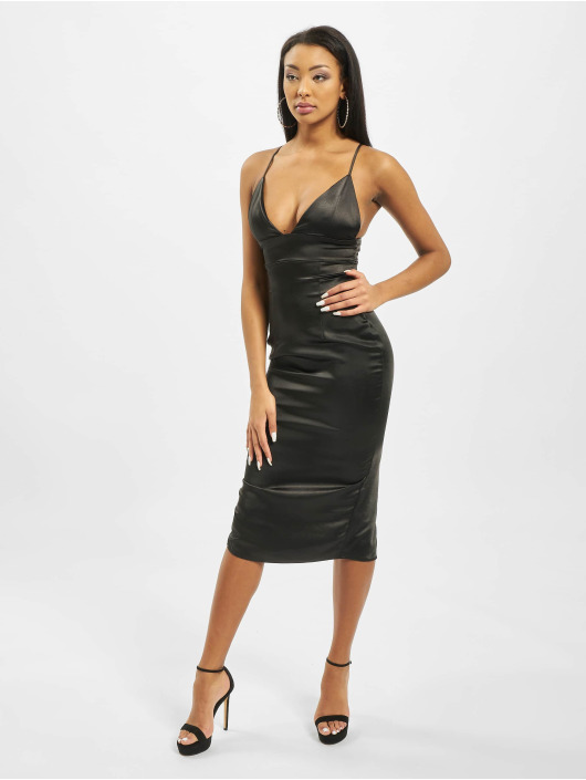 Missguided Mekot Stretch Satin Cupped Cami Midi musta