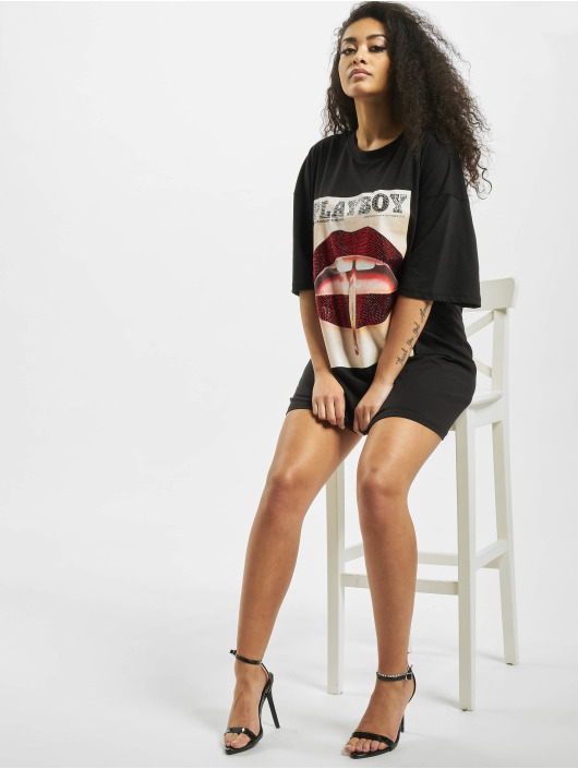 Missguided Mekot Playboy Diamante Lips T-Shirt musta
