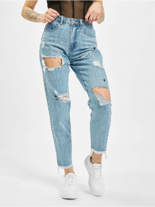 Missguided Mom Jeans Riot High Rise Slit Rip blå