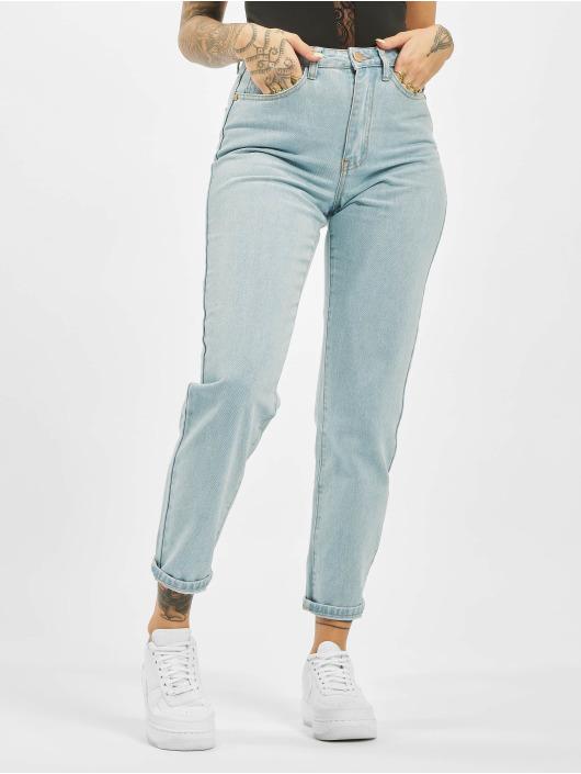 Missguided Mom Jeans Utility Button Plain Riot blau