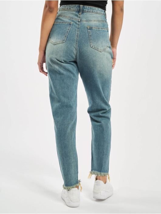 Missguided Mom Jeans Riot High Rise Ripped blau