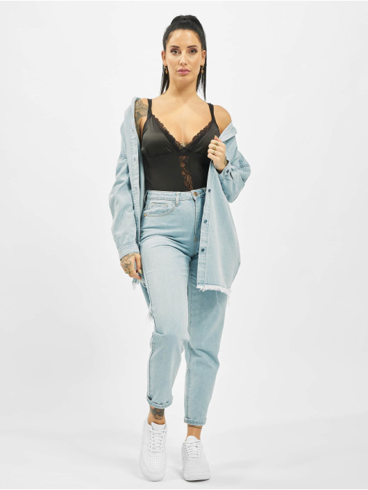 Missguided Mom Jeans Utility Button Plain Riot blue