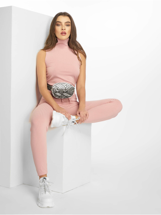 Missguided Monos / Petos Roll Neck Ribbed fucsia