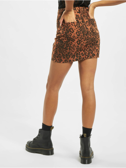 Missguided Nederdele Leopard Print Denim Mini Co Ord brun