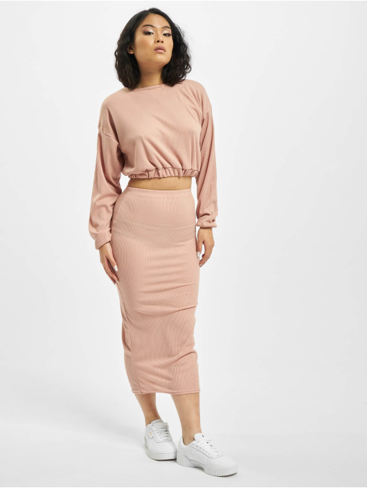 Missguided Nederdele Coord Rib Crop pink