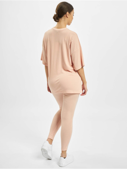 Missguided Obleky Ribbed Oversized růžový