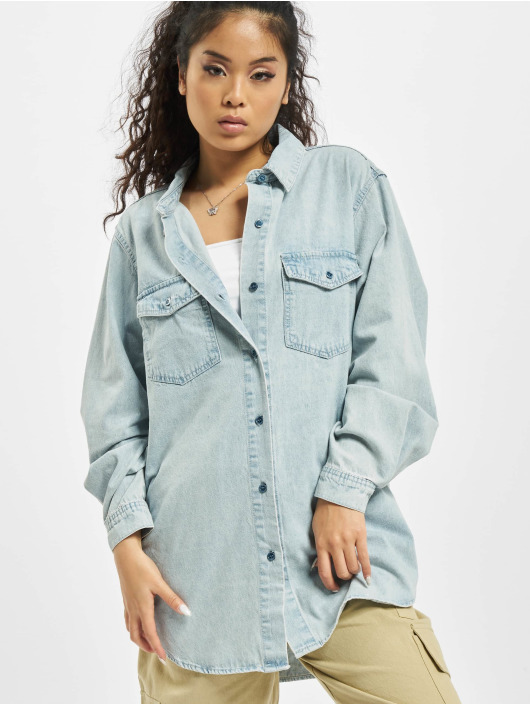 Missguided overhemd Boyfriend Fit blauw