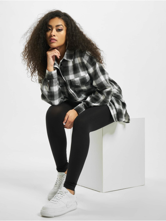 Missguided overhemd Brushed Oversized Basic Check grijs