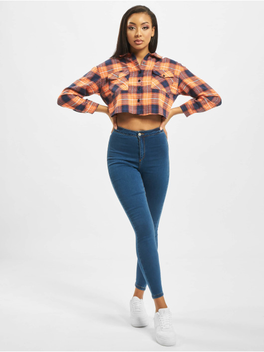 Missguided overhemd Petite Oversized Crop Check oranje